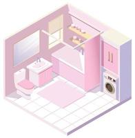 Isometric pink bathroom