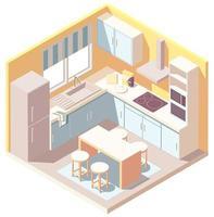 Interior isométrico de cocina amarillo y azul. vector