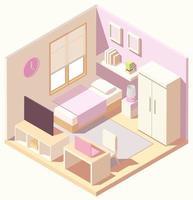 dormitorio rosa moderno isométrico vector