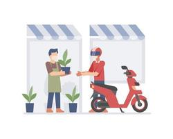 Small business owner sending plant via online courier vector
