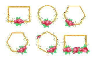 Set of rose flower frames vector