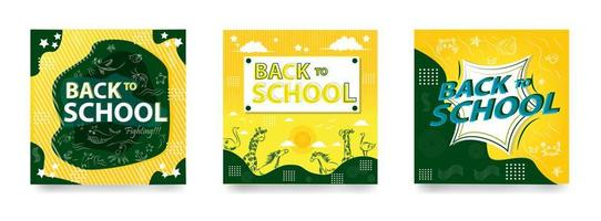 Social Media Feeds Template for Back to School vector