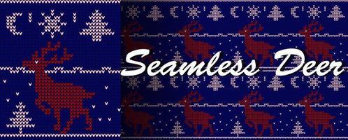 Deer in winter scene knit style seamless pattern vector