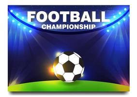 Balón de fútbol o fútbol en diseño de campo iluminado.