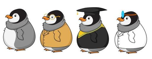 lindo conjunto de caracteres de pingüino