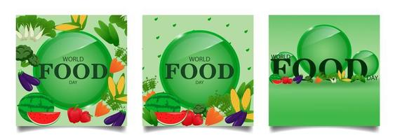Square social media feeds for world food day vector