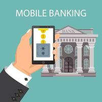 Concept of mobile banking with safe box and coins