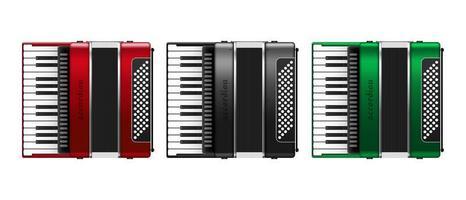 Set of realistic accordion vector