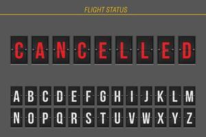 información de vuelo cancelado vector