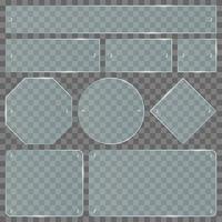 juego de placas de vidrio transparente vector