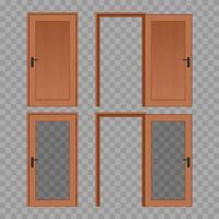 puerta de madera abierta y cerrada vector