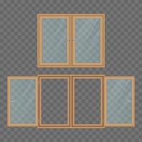 Two wooden windows isolated