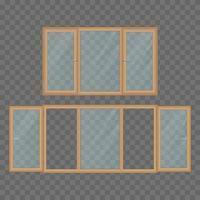Wooden windows set isolated