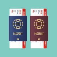 Pasaporte con tarjeta de embarque interior aislado en verde vector