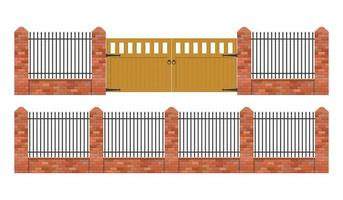 Brick fence with wooden gate isolated vector