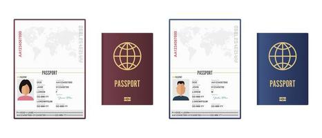 Opened and closed male and female passports vector