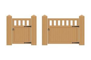 Vintage wooden gate vector