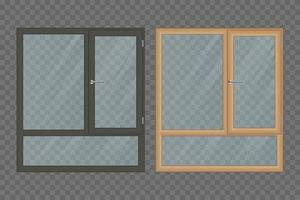 Two traditional wooden windows vector
