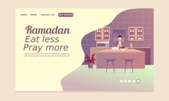 Ramadan Landing Page with Nan Rising Hand vector