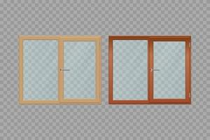 Two wooden windows  vector