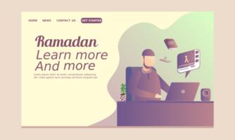 Ramadan Landing Page with Man Watching Video Online vector