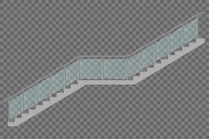 Escalera con barandilla de vidrio aislado vector