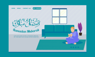 Ramadan Landing Page Man Sitting in Front of Sofa with Quran vector