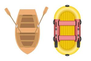 Wooden and inflatable boat set vector