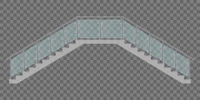 Two sided stairs with glass railing isolated vector
