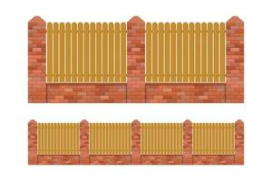 Brick and wood fence isolated vector