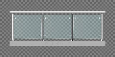 Railing with glass isolated  vector