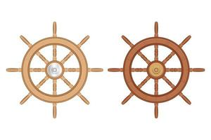 Wooden ship wheels set isolated