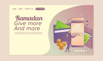 página de inicio de Ramadán con hombre dando caridad en línea vector