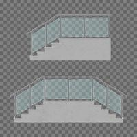Stairs with glass railing isolated