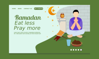 Ramadan Landing Page with Man Praying Before Breaking Fast vector