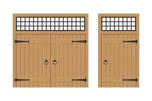 Set of old wooden doors isolated vector