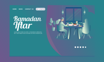 Ramadan Landing Page with Father, Mother, Son Breaking Fast vector