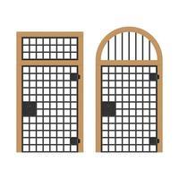 conjunto de puertas antiguas con barras de acero