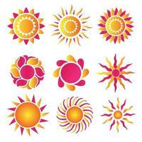 conjunto de logotipos de diseño de sol