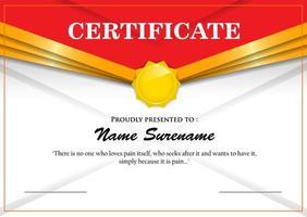 conception simple de certificat d'en-tête d'angle rouge et or