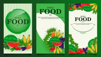 Social media story templates for world food day vector