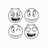 Line-art happy emoji icon set vector