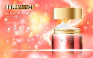 Hydrating Face Cream on Pink, Gold Sparkle Background vector