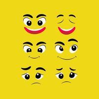 Cartoon facial expressions icon collection