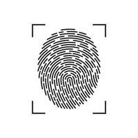 impressão digital isolada no branco vetor
