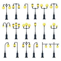 Set of vintage street lamp isolated  vector