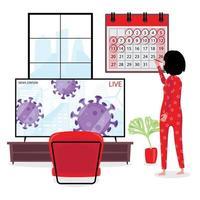 señora marca los días de cuarentena en el calendario vector
