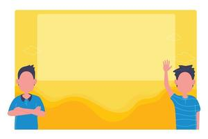 gente de pie delante del marco de imagen amarillo en blanco vector
