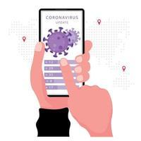 Actualización de noticias sobre coronavirus o covid19 en el teléfono inteligente vector