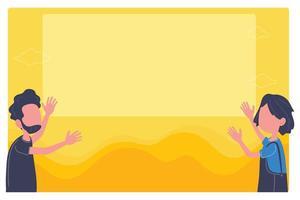 Marco de imagen amarillo en blanco con personas apuntando